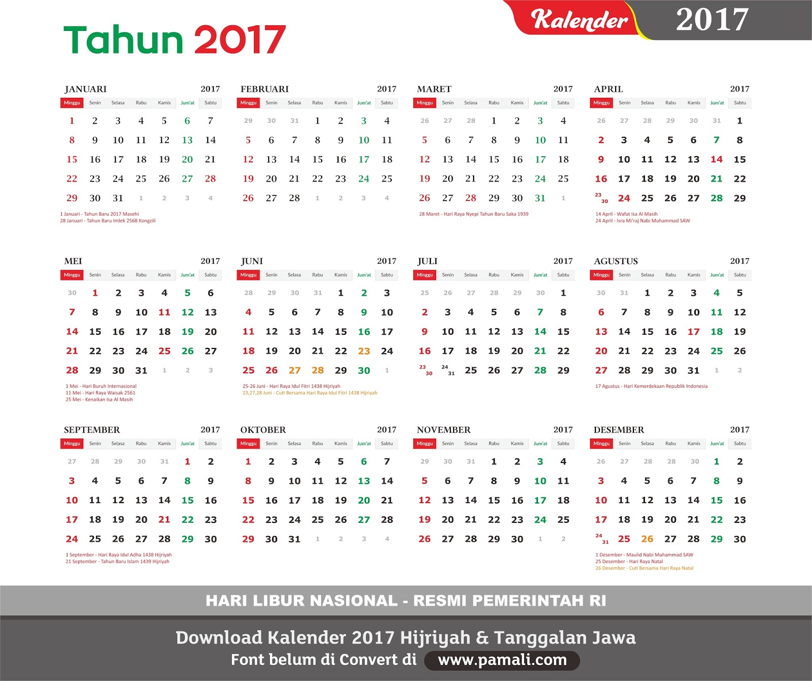 Download Kalender 2017 Cdr