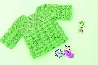 6 - Imagen chambrita de abanicos en relieve a crochet. Majovel crochet