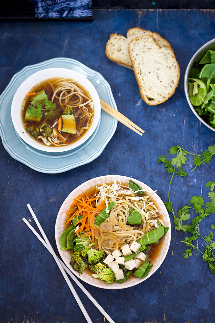 Vegan healthy soup made with white miso, wholewheat noodles and fresh vegetables