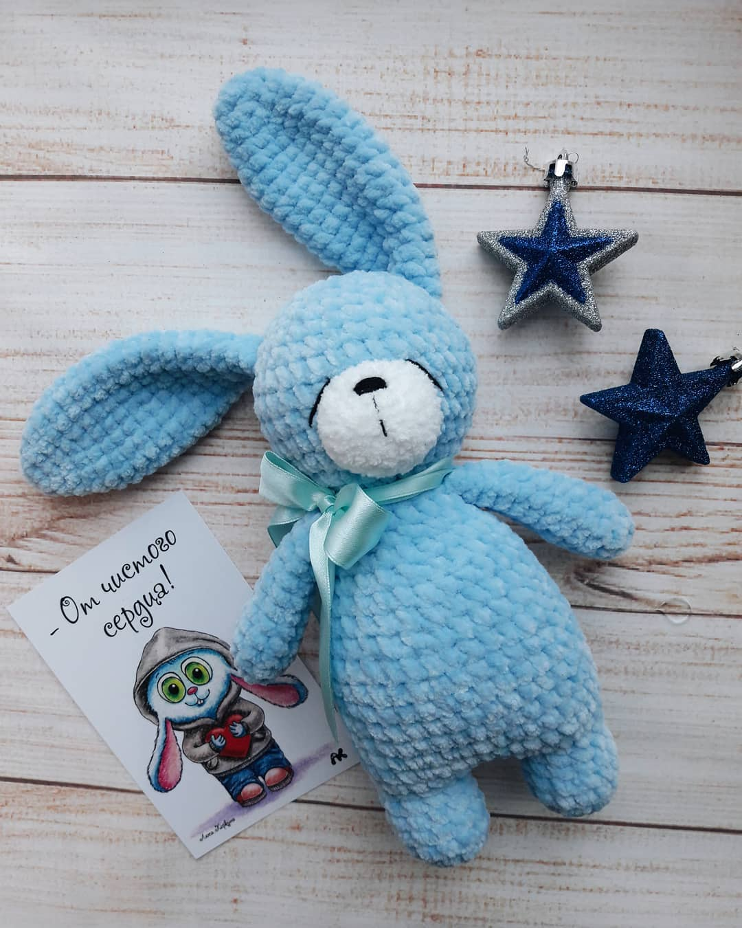 Crochet bunny amigurumi from plush yarn