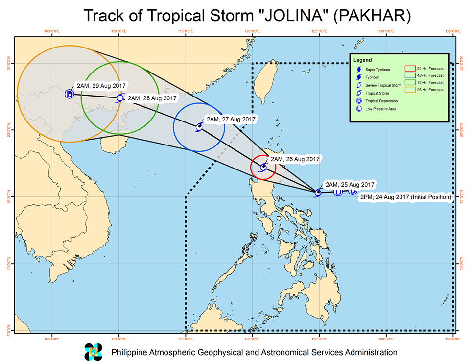 'Bagyong Jolina' PAGASA weather update August 25, 2017