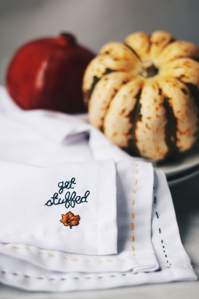 Embroidered Thanksgiving Napkins (+ free pattern!)