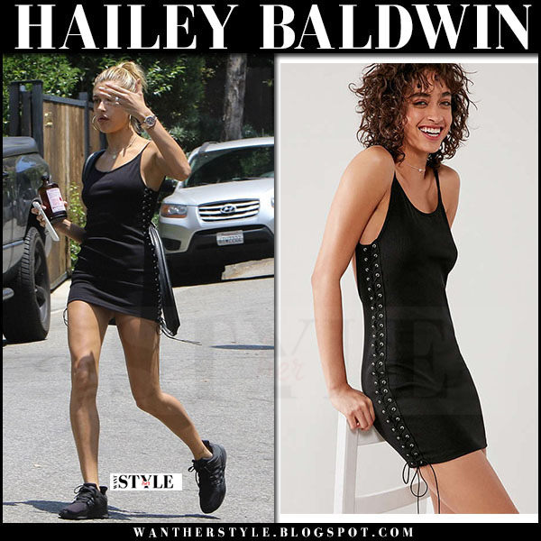 Hailey Baldwin in black mini dress silence noise what she wore june 22 2017 streetstyle