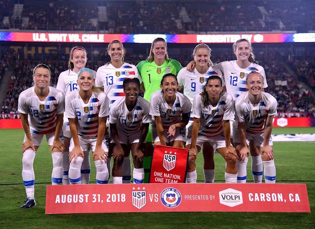 Formación de selección femenina de Estados Unidos ante Chile, amistoso disputado el 1 de septiembre de 2018