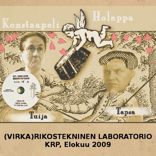 Kuva: Konstaapeli Holappa KRP:n rikosteknisessä laboratoriossa 2009