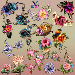 Beauty of flowers design clipart