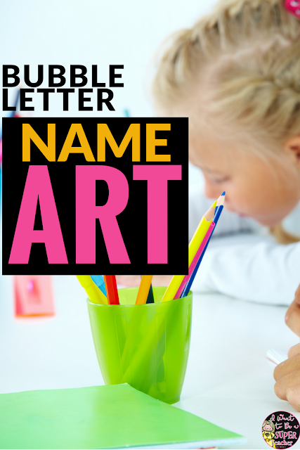 Looking for a simple back to school art project and year long bulletin board solution? Try this bubble letter name art idea! Super easy to prep and makes for darling year long bulletin boards for 2nd and 3rd grade classrooms. Love the mentor texts too!