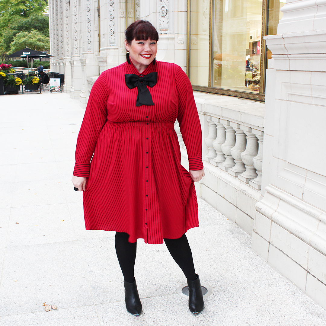 Chicago Plus Size Blogger Amber from Style Plus Curves in Lane Bryant x Glamour Collection red and black dress