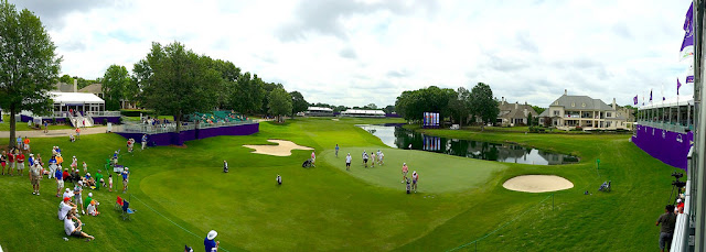 Panoramic view of FedEx St Jude Classic golf tournament play