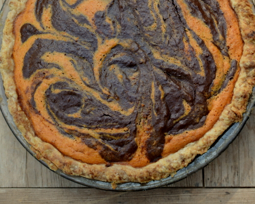 Sweet Potato-Chocolate Swirl Pie ♥ A Veggie Venture