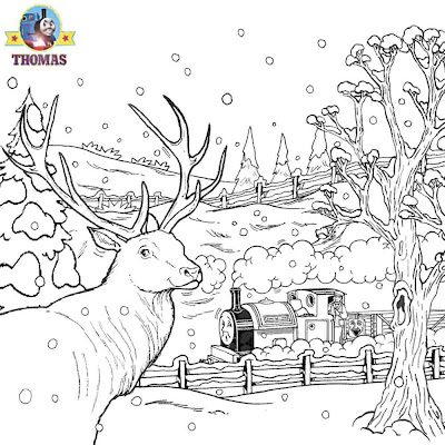 Thomas Christmas Coloring Sheets For Children Printable