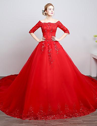 vestidos sencillos de novia con color rojo