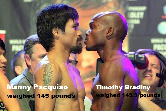 Timothy Bradley and Manny Pacquio have already stepped on the scale for weighing