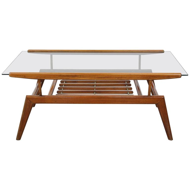 Select Modern Gio Ponti Style Walnut And Glass Coffee Table
