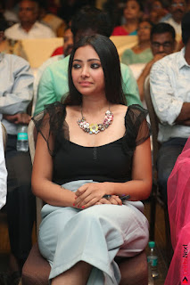 Swetha Basu in a Black Sleeveless Top Long Skirt at Mixture Potlam Movie Audio Launch 009.JPG