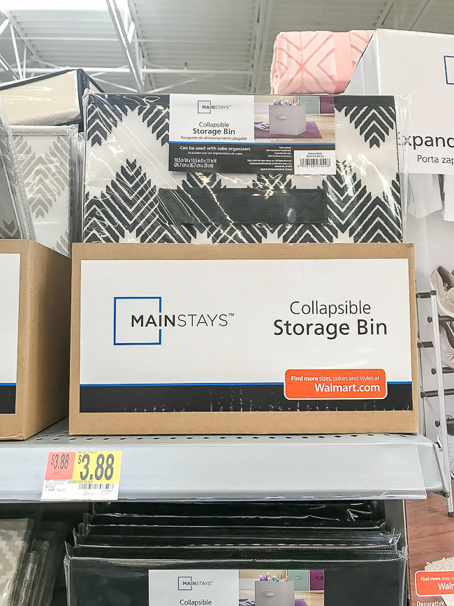 Canvas storage bins from Walmart