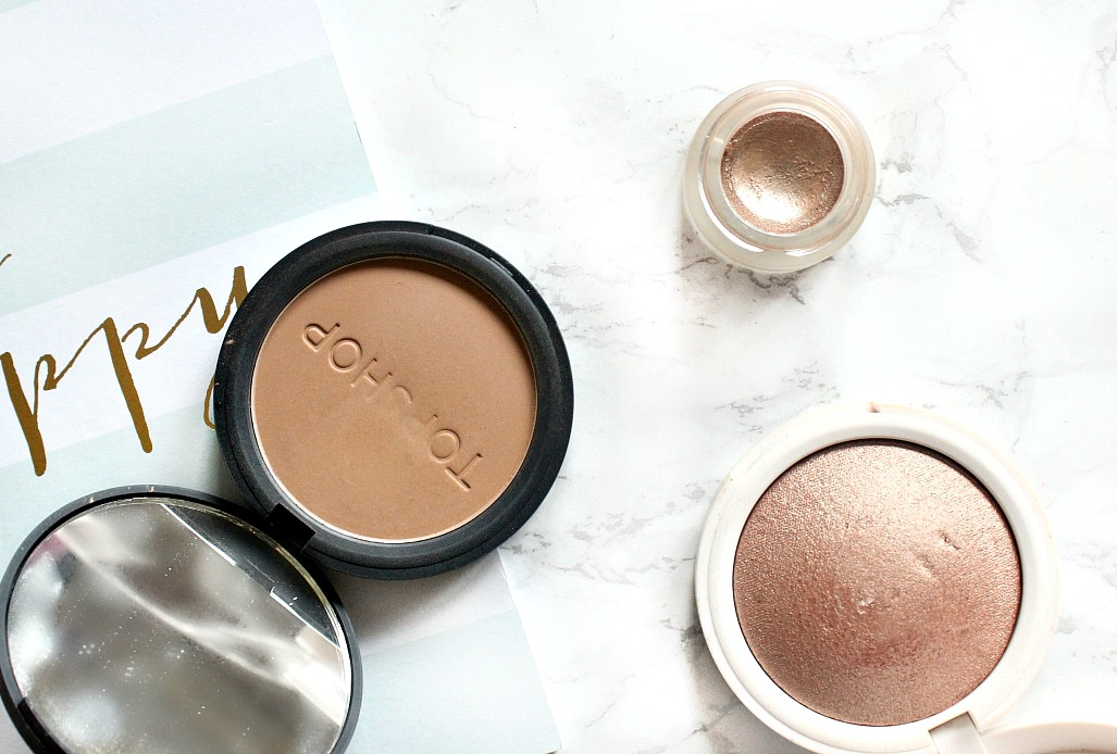 topshop glow pot in gleam, topshop highlighter in horizon, topshop bronzer in mohawk swatch and review