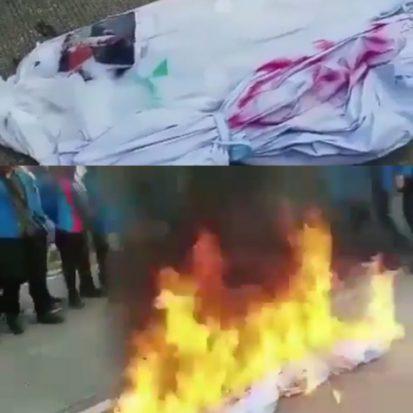 'Pocong Jokowi' Diarak dan Dibakar Mahasiswa Riau