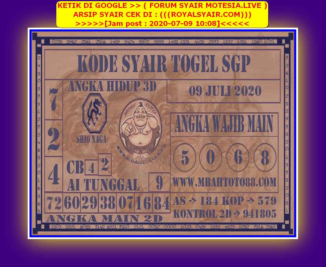 Kode syair Singapore Kamis 9 Juli 2020 184