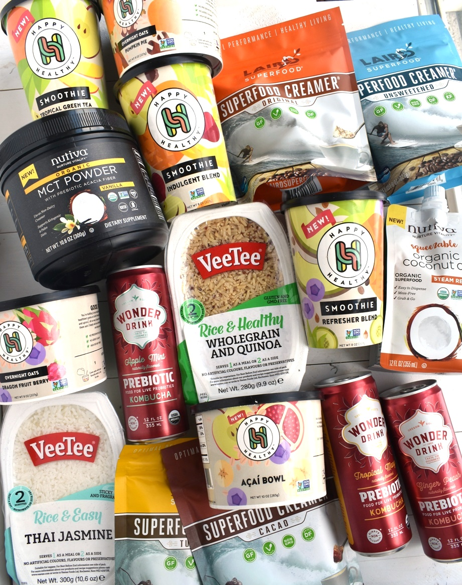Celebrate National Nutrition Month with healthy products including Happy Healthy Co. smoothies, Wonder Kombucha, Nutiva coconut oil, VeeTee rice and Laird superfood creamer.