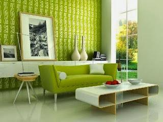 sal con sofá verde