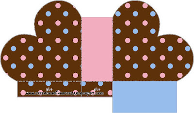 Pink and Light Blue Polka Dots in Chocolate Heart Shaped Open Box.