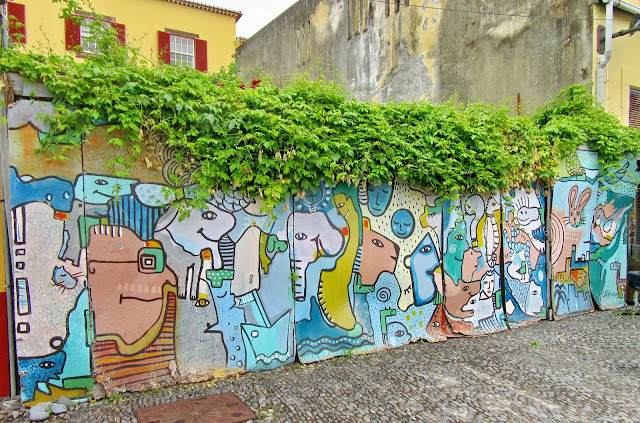 a very lively mural in the old town
