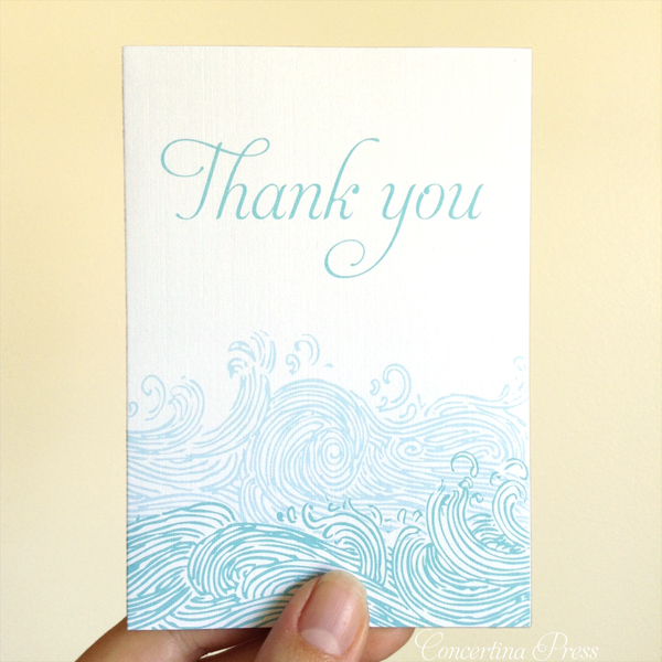 Wave thank you notes perfect for a destination beach wedding
