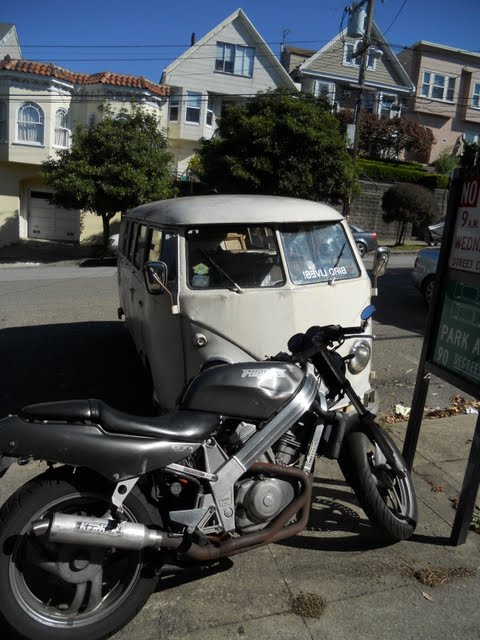 VW bus and motorcycle