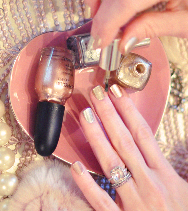 painting nails, heart plate