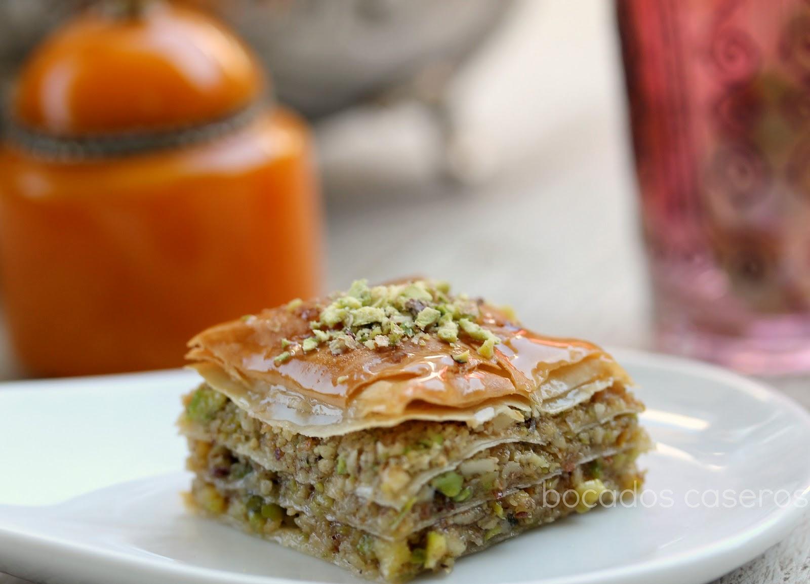 Bocados Caseros Baklava receta rabe tradicional