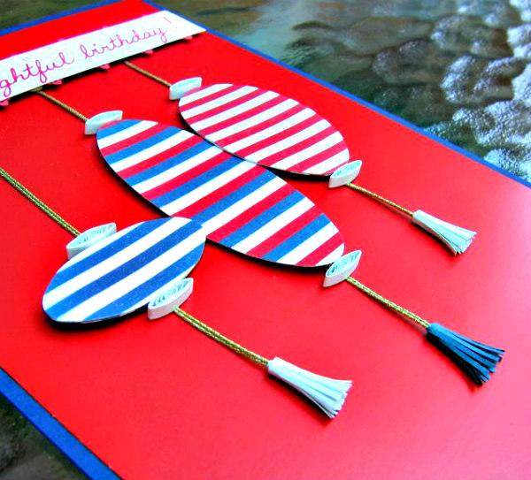 handmade birthday card with striped paper lanterns - detail