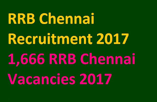 RRB Chennai Recruitment 2017 | 1,666 RRB Chennai Vacancies 2017