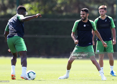 Mahrez meets Pep as he takes part in team's first training session