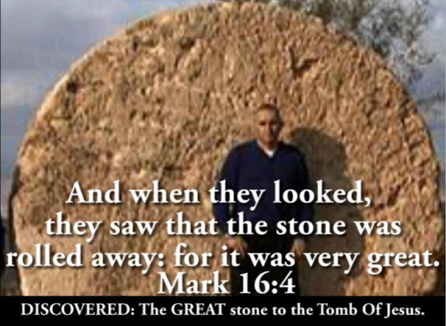 The GREAT STONE of Mark 16:4, at Mount Nebo.