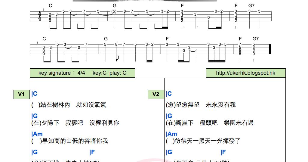 ukulelemania: #105 林奕匡:高山低谷 UKULELE chord 彈唱譜