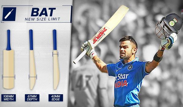 New ICC Rules : BAT SIZE; Virat Kohli Bat Size