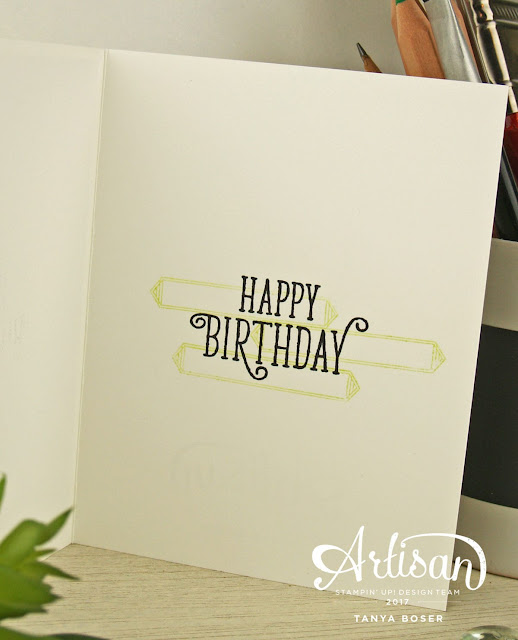 Geometric, repetitive stamping in Lemon Lime Twist, and the fabulous Foil Frenzy designer series paper really make this birthday card special! Stampin' Up has really put together a wonderful suite with the Happy Birthday Gorgeous stamp set and the Happy Birthday thinlit. Tanya Boser for the Artisan Design Team
