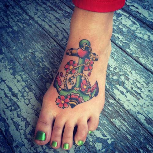 vintage colorful anchor tattoo for foot eski tarz çapa dövmesi