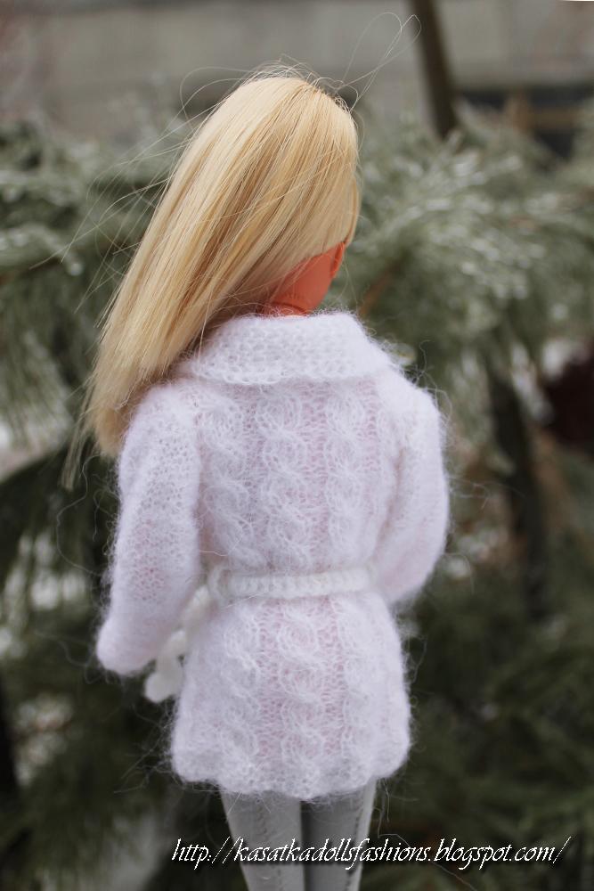 Вяжем одежду для куклы Барби спицами юбка и пончо 56