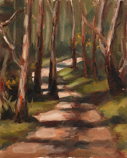 Oil painting of a gravel path winding through eucalypts.