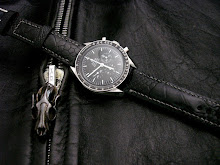 Omega Speedmaster Pro on Satin Black Ostrich Leg strap from our Manufacture Collection