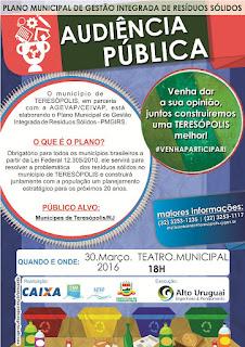 Convocação para Audiência Pública da Secretaria de Meio Ambiente de Teresópolis em 30/03/16