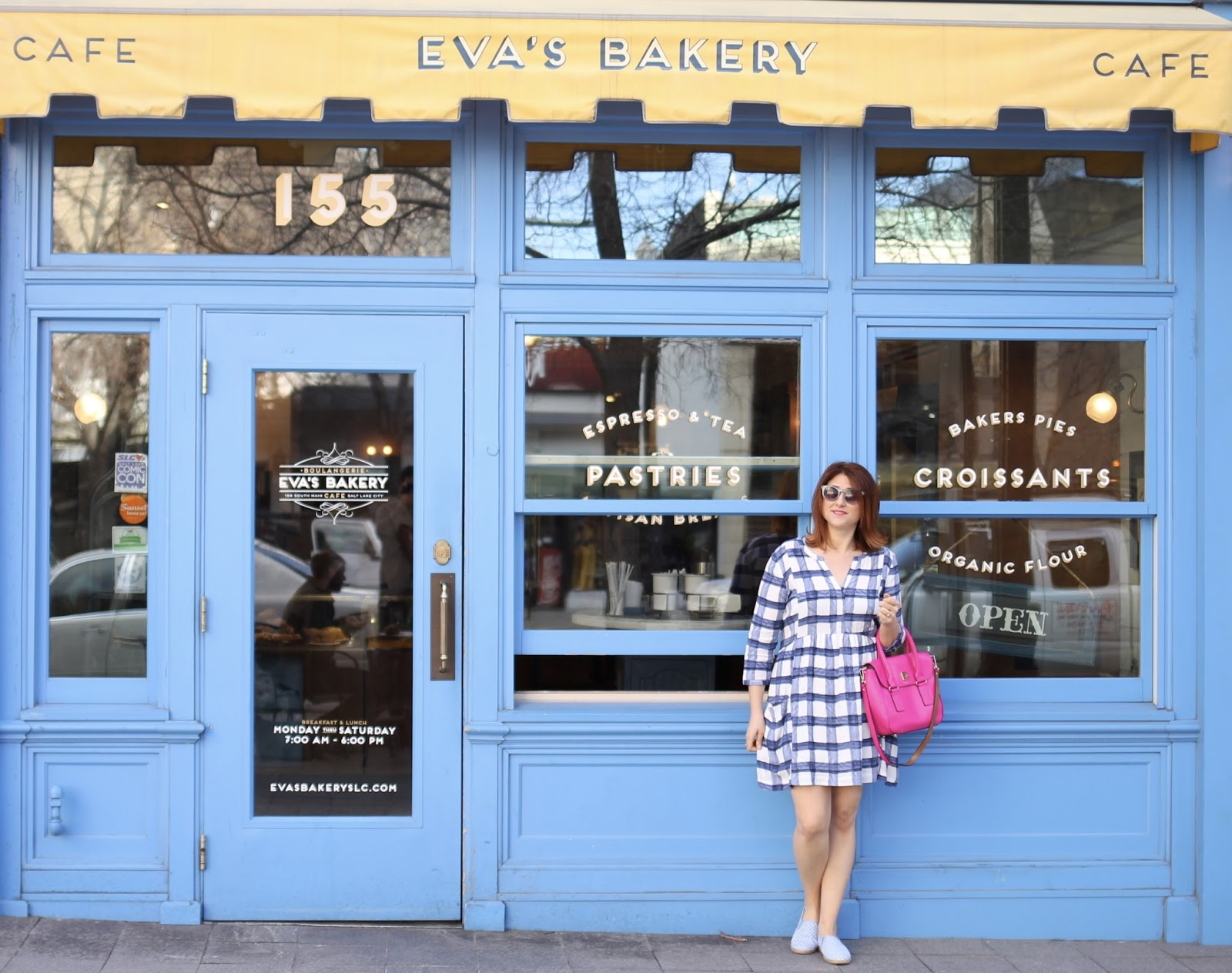 casual fun outfit, easy look, blue casual dress, hot pink purse, anthropologie dress, kate spade bag hot pink, devery dress, keds slip on sneakers, sneakers with a dress, eva's barkery
