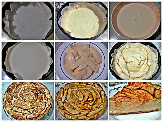 Preparación de la tarta de queso y manzana sin azúcar