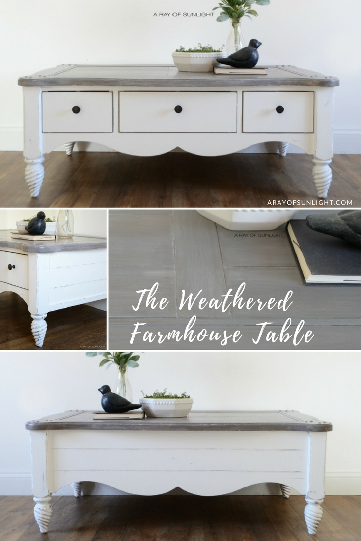 What a transformation! I love the grey layered finish on the top with a crisp white base! This is perfect for my farmhouse style living room! Furniture Makeover | The Shiplap Coffee Table by A Ray of Sunlight | How to Create a Weathered Finish with Paint