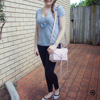 awayfromblue instagram casual stay at home mum jeans tee outfit mothers group catchup neutral with pink bag