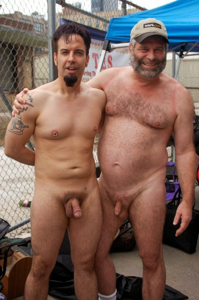 Dad and son nude together
