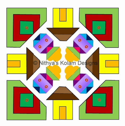 Kolam 105: Pongal Paanai and house Kolam