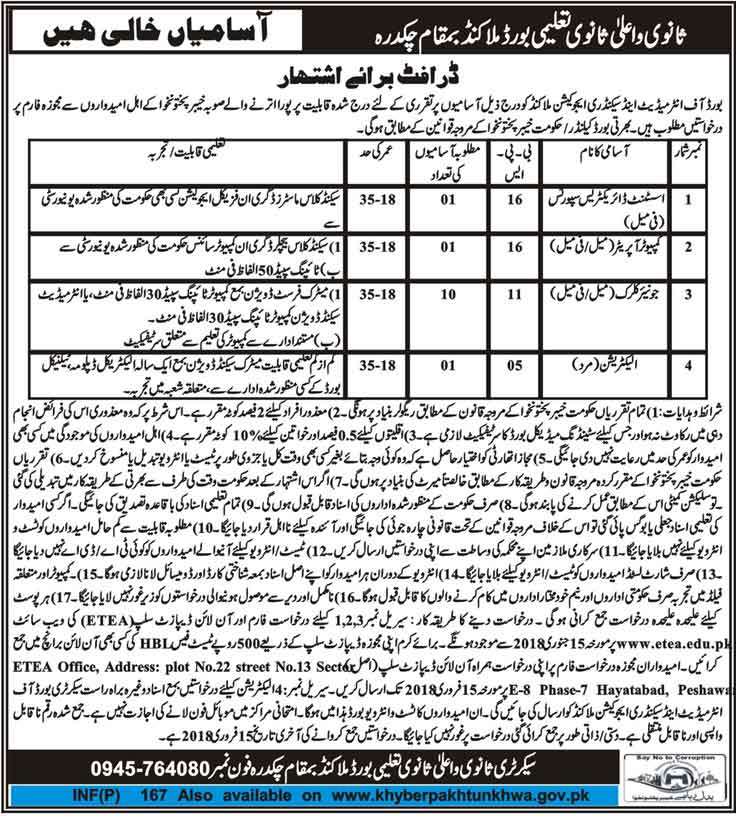 Board Of Intermediate And Secondary Education kpk jobs